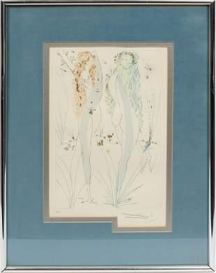 Original Salvador Dali Signed Etching Surreal Print