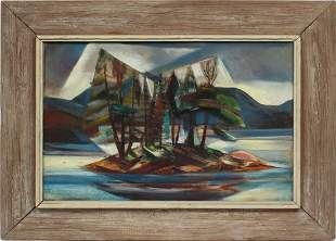 Large Major Modernist Mountain Lake 1930's Oil Painting