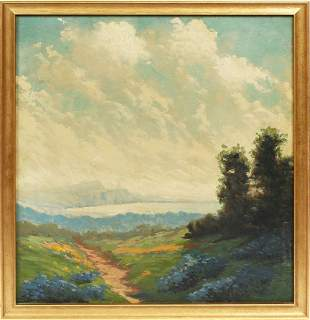 Antique Southern School Bluebonnet Landscape Painting