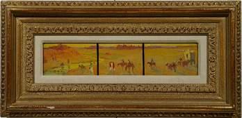 Taos School Western Native American Horse Oil Painting