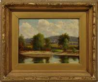 Antique Boston School White Mountain Lake Oil Painting