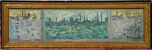 Industrial Cityscape Triptych WPA Modern Oil Painting
