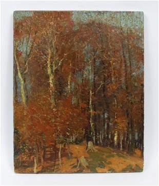 Antique American School Forest Interior Painting Mason