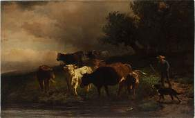 Moran Signed Long Island NY Cow Antique Oil Painting