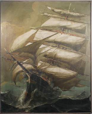 Signed Oil Painting of a Clipper Ship at Sea