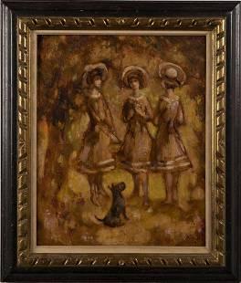 Antique Oil Painting Scottie Dog Family Portrait