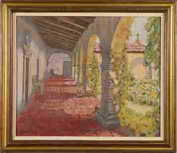 Large California Mission Landscape Painting Signed