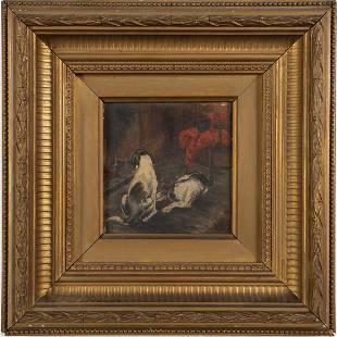 Antique American School Dog Portrait Frame Oil Painting