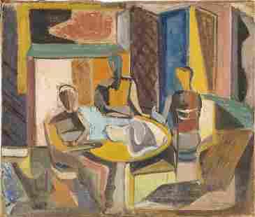 Antique American School Cubist 1920s Oil Painting