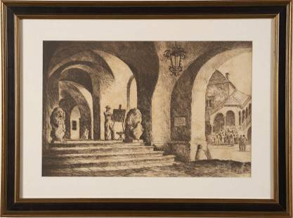 European School Signed Cityscape Etching Print