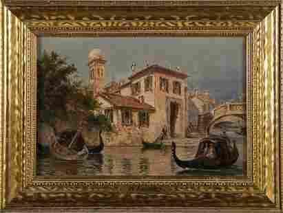 Augustus Lumley Antique Venice Canal Impressionist Oil