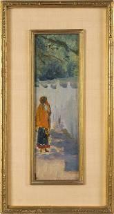 Antique Taos School Western Portrait Oil Painting