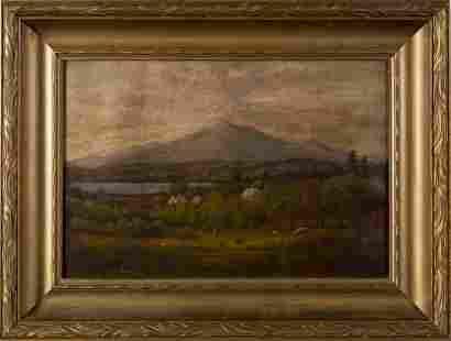 Antique Hudson River School 1850 Cabin Oil Painting Cow