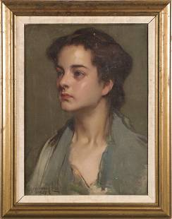 Signed Antique Realist Portrait Young Woman OC Painting