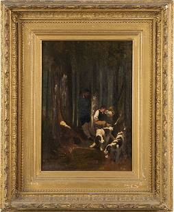 Antique American Sporting Art Hunting Dog Oil Painting
