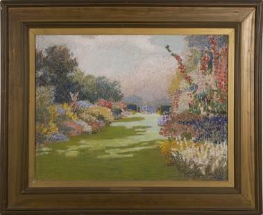 Antique American Impressionist Large Garden OC Painting