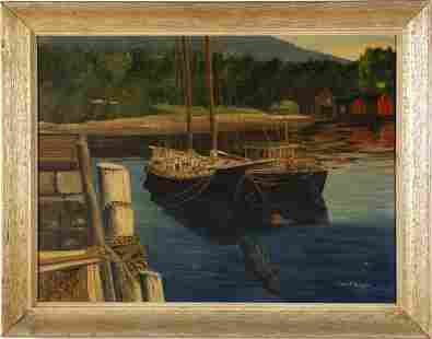 Camden Maine Signed Boat Harbor Seascape Painting