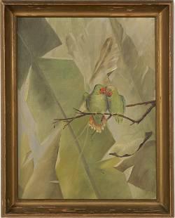 Modernist Love Birds Animal Portrait Cubist Painting