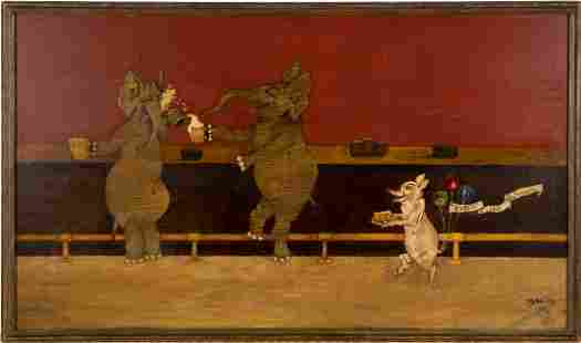 Drunk Elephants At a Bar Surreal Animal Oil Painting