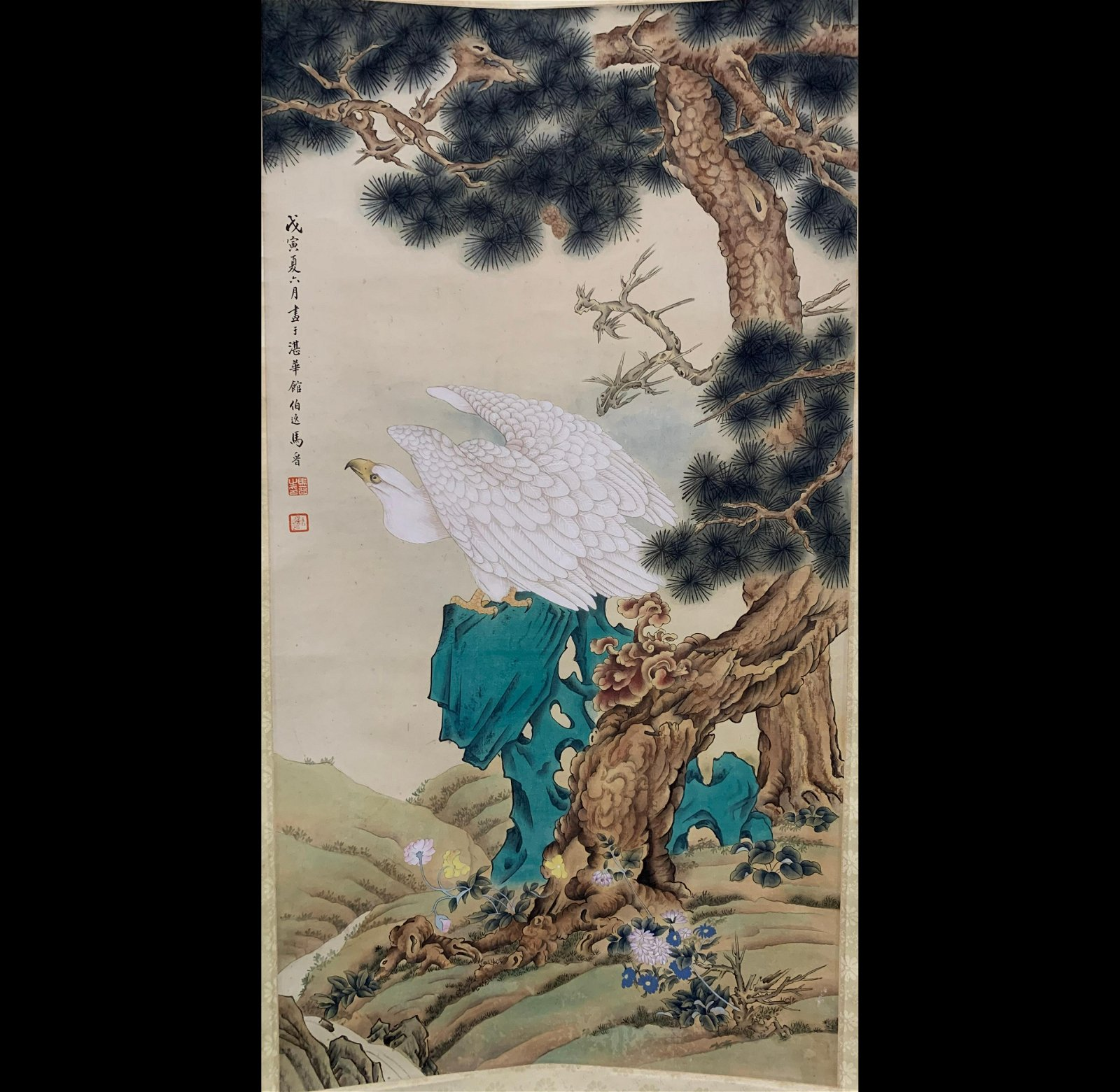 China,a scroll of an eagle and pine trees by Ma Jin.