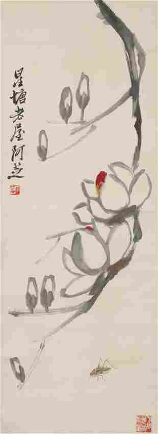 A CHINESE SCROLL PAINTING BY QI BAI SHI