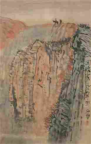 A CHINESE SCROLL PAINTING BY SHI LU