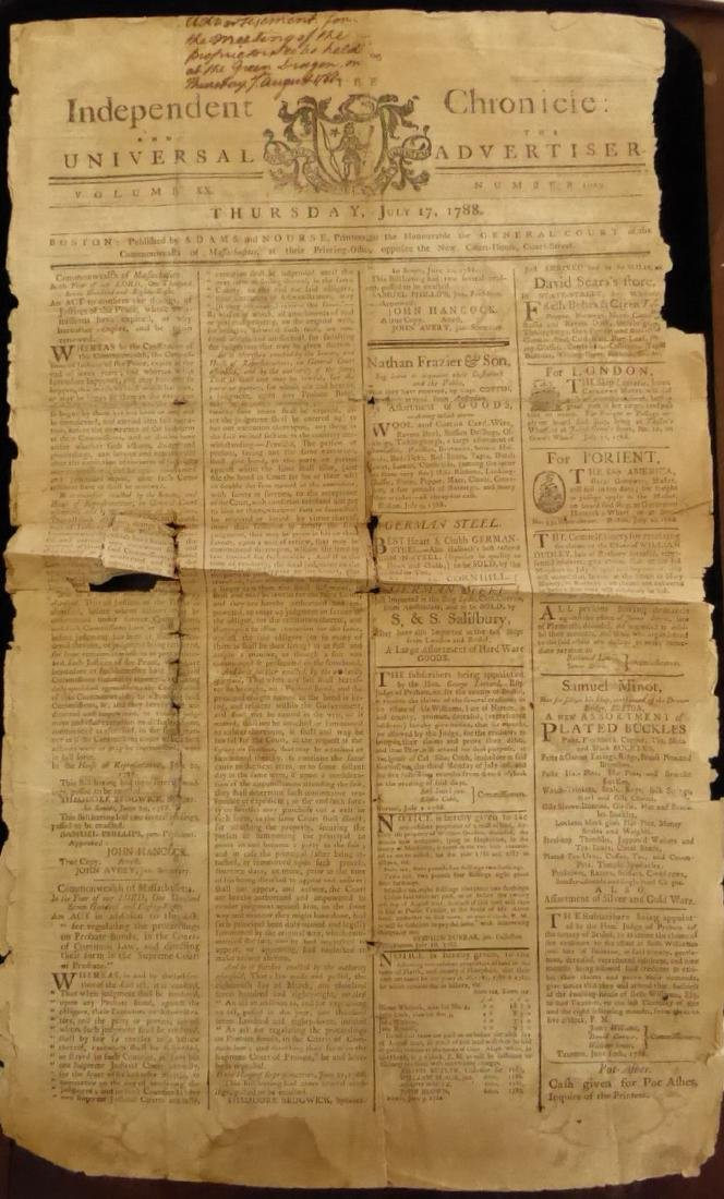 1788 Newspaper - Call to Meeting at GREEN DRAGON