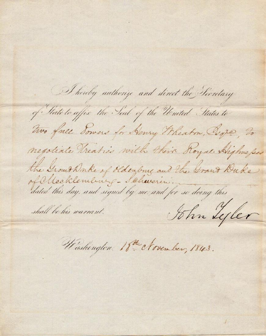 10th President JOHN TYLER - Doc Signed