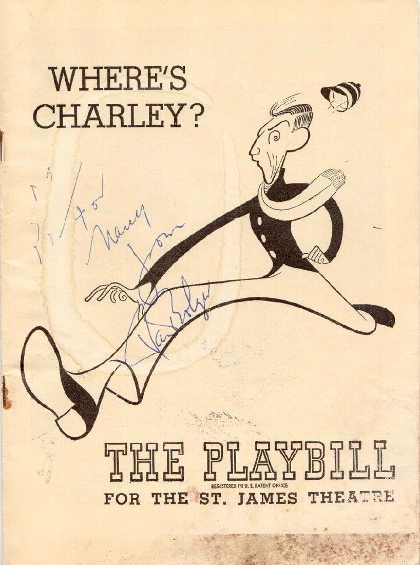 """RAY BOLGER - """"Where's Charley"""" Playbill Signed"""