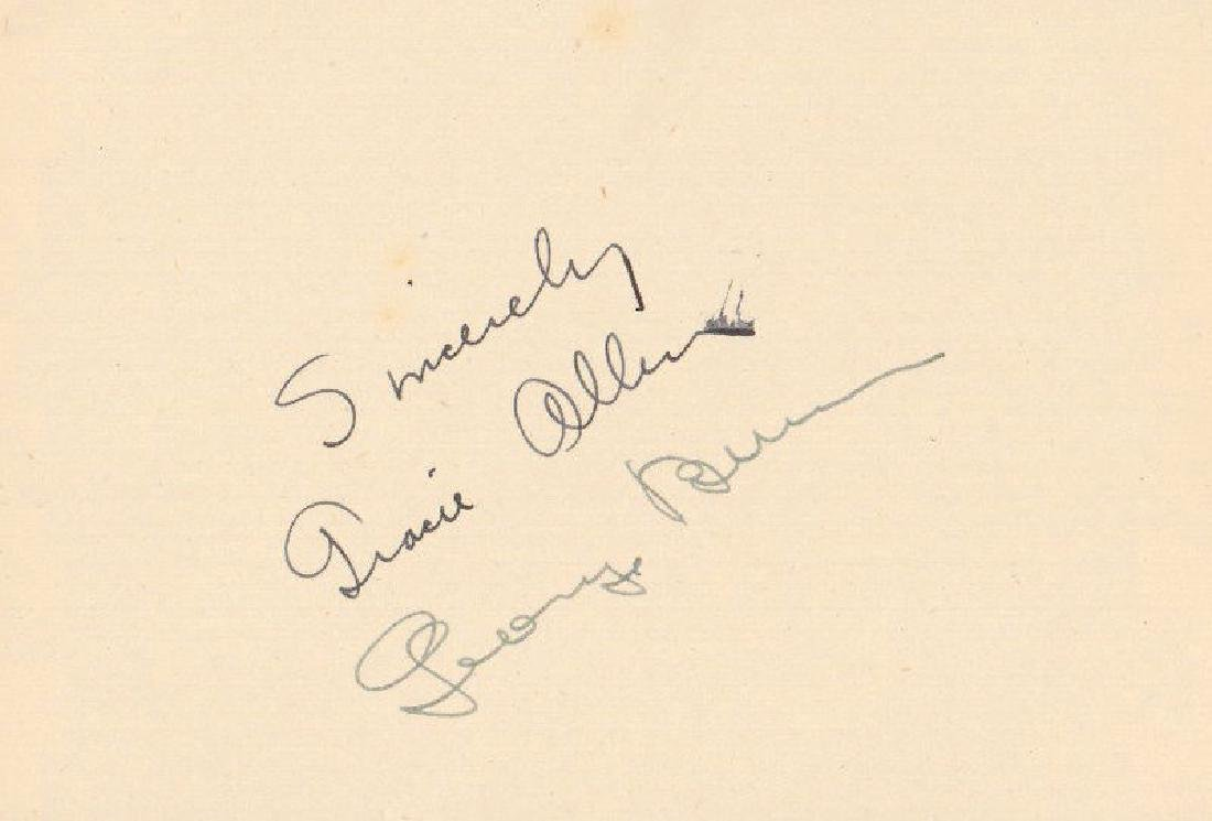 GEORGE BURNS and GRACIE ALLEN - Card Signed