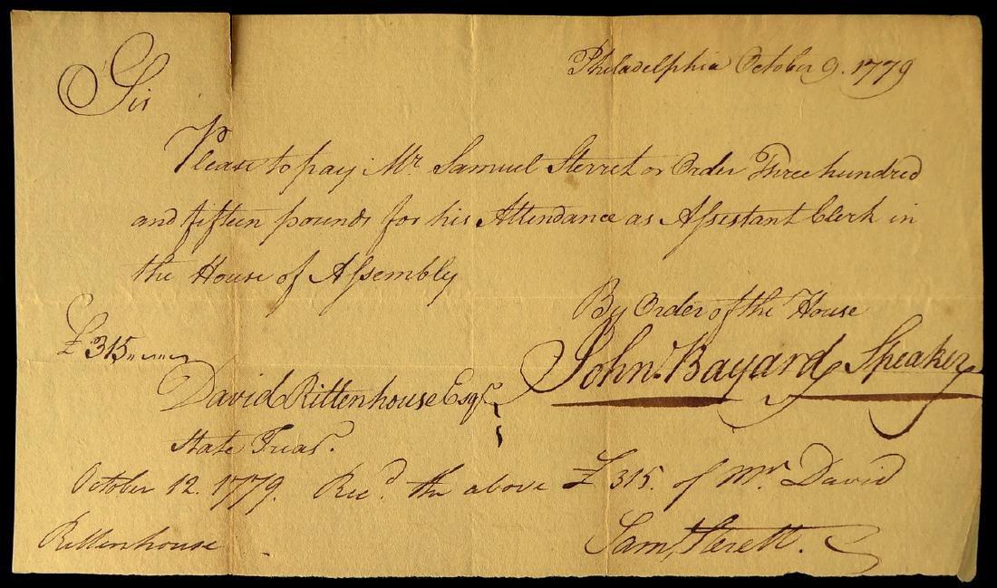 Patriot JOHN BAYARD - 1777 Pay Order Signed