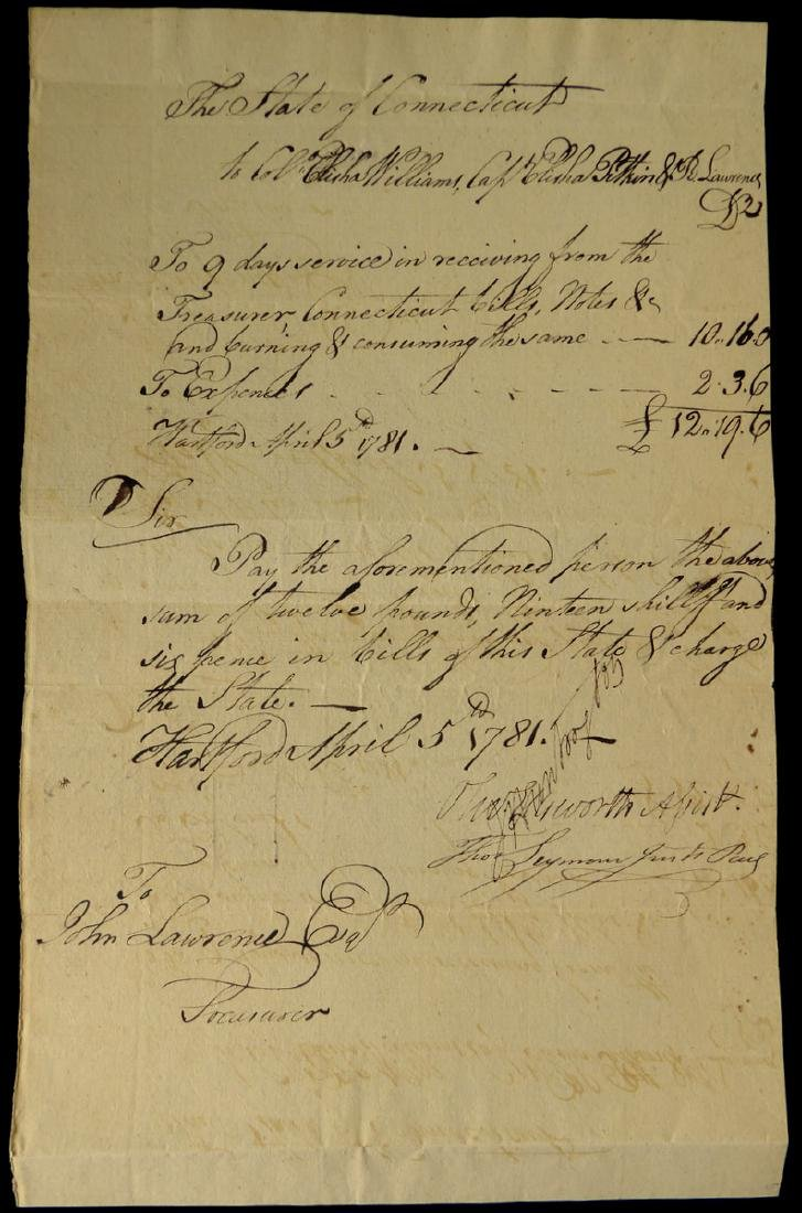 OLIVER ELLSWORTH - 1781 Pay Order Signed