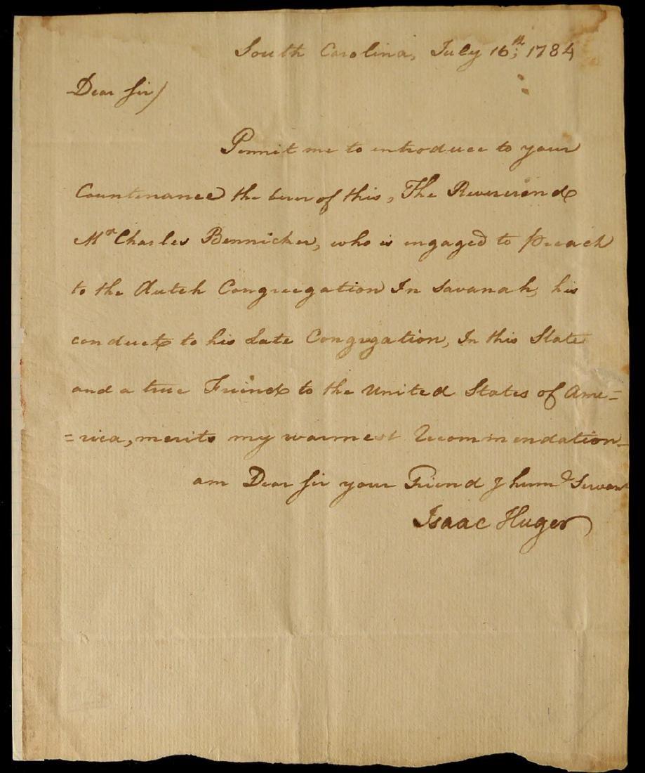 Rev War Gen ISAAC HUGER - ALS 1784