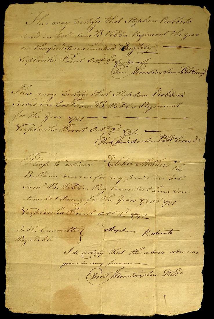 EBENEZER HUNTINGTON - Military Doc Signed