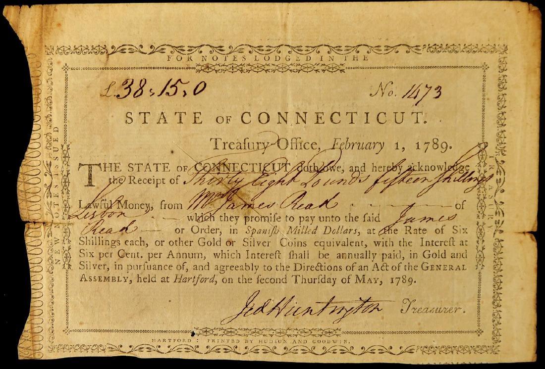 Gen JEDEDIAH HUNTINGTON - Receipt Signed