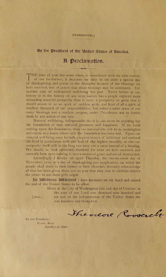 THEODORE ROOSEVELT - Thanksgiving Proclamation Signed