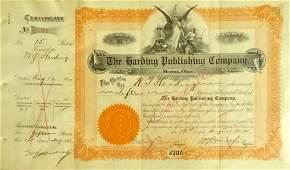 29th Pres WARREN G HARDING - Stock Certificate Signed