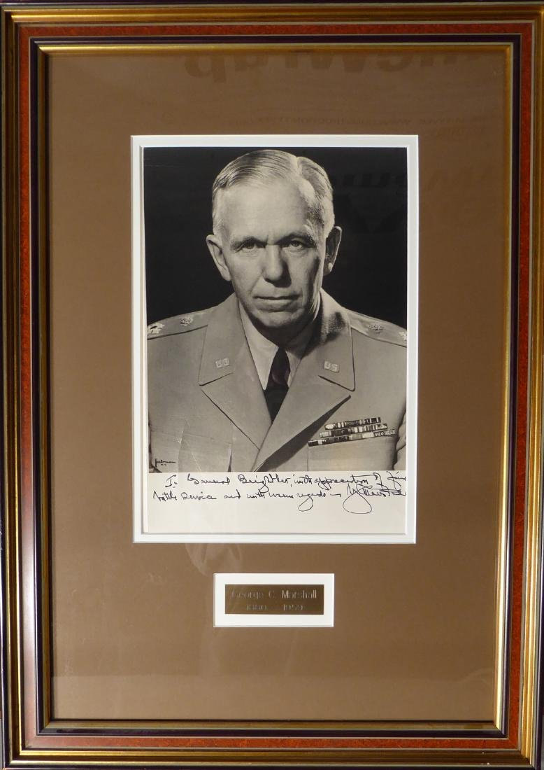 Gen, Secy State GEORGE C MARSHALL - Framed Signed Photo