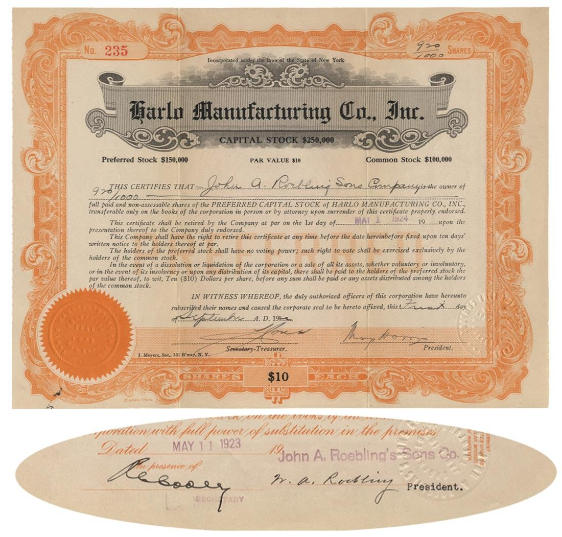 Engineer WASHINGTON ROEBLING - Stock Signed