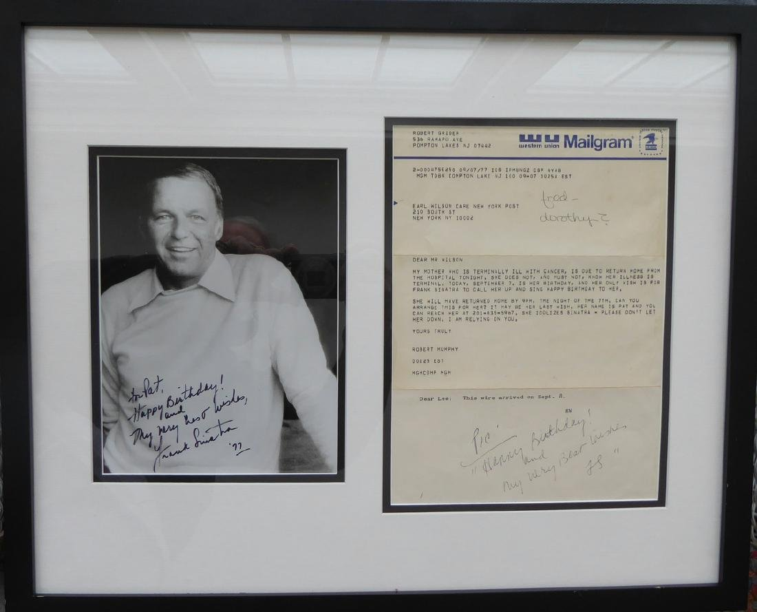 Singer, Actor FRANK SINATRA - Photo Signed to Dying Fan
