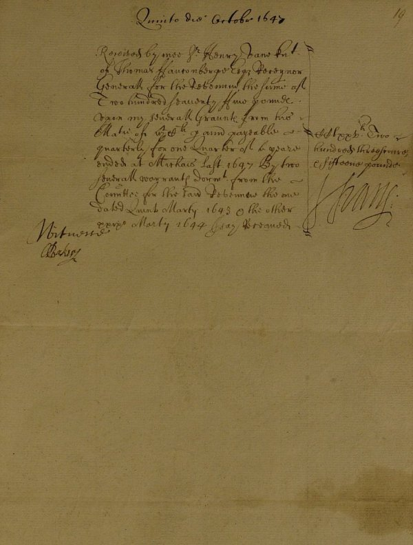 1: Colonial Governor HENRY VANE - Document Signed