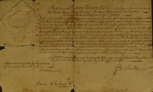 5: Colonial Gov GIDEON WANTON - Document Signed