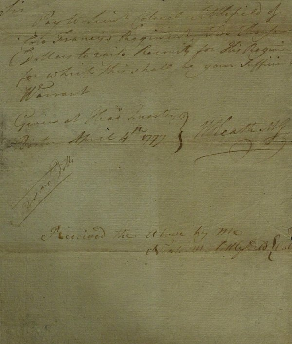 15: Major General WILLIAM HEATH - War Date Doc Signed
