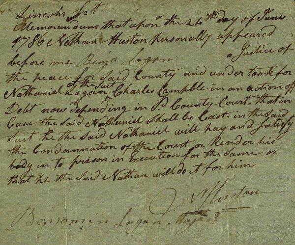 17: Boone's Friend BENJAMIN LOGAN - Document Signed
