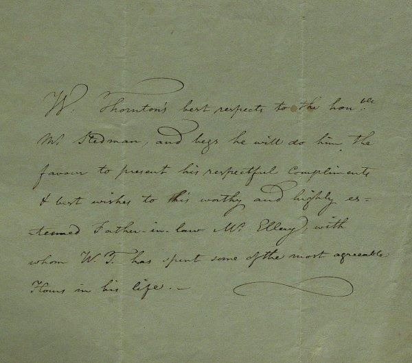 18: Architect WILLIAM THORNTON - Autograph Note Signed