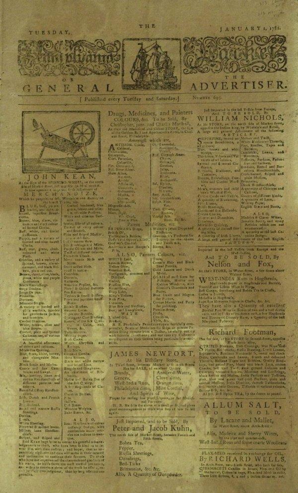 23: 1781 REVOLUTIONARY WAR ERA - Newspaper