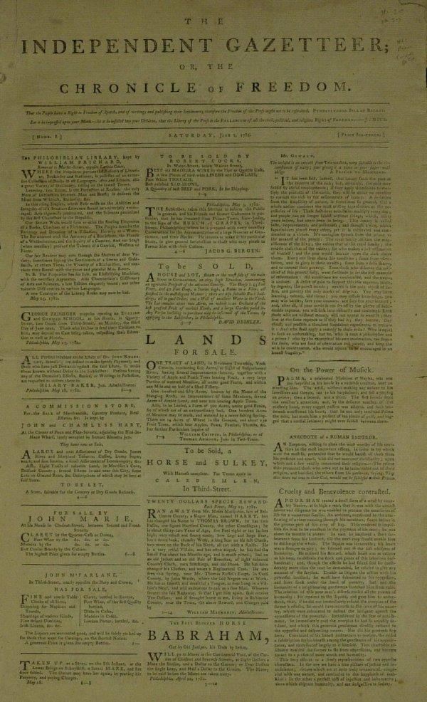 24: 1782 Revolutionary War Era - NEWSPAPER