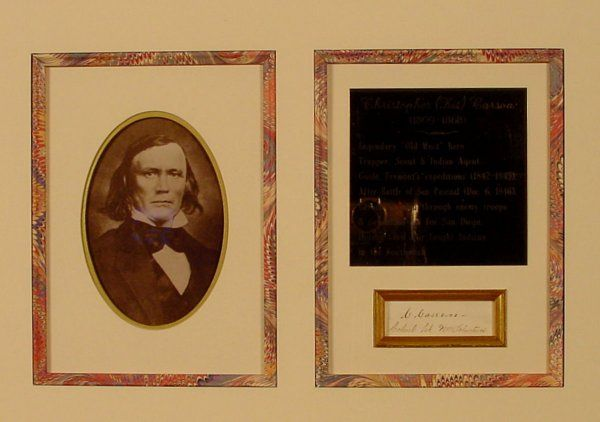 """Scout """"KIT"""" CARSON - Cut Signature, Framed"""
