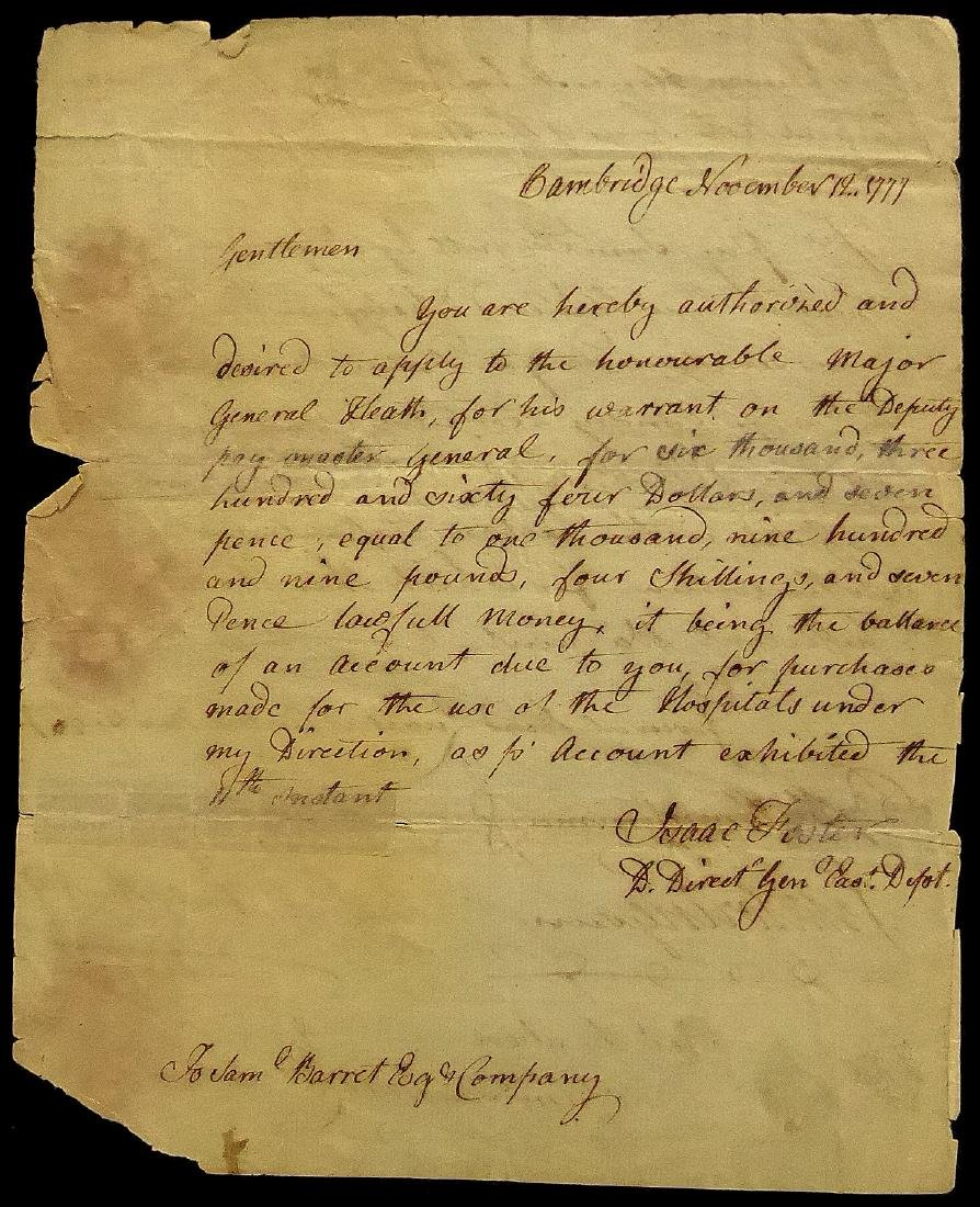 DR ISAAC FOSTER & WILLIAM HEATH - Doc Signed 1777