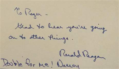 RONALD and NANCY REAGAN - Autograph Note Signed